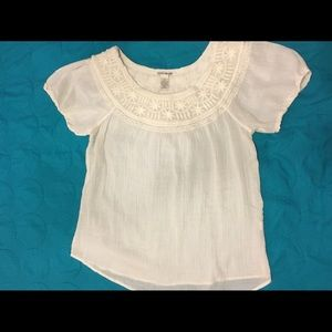 Sheer white Lucky Brand embroidered flowy top